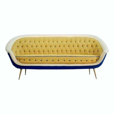 Midcentury Sofa with Brass Spider Legs by ISA Bergamo, Italy 1959
