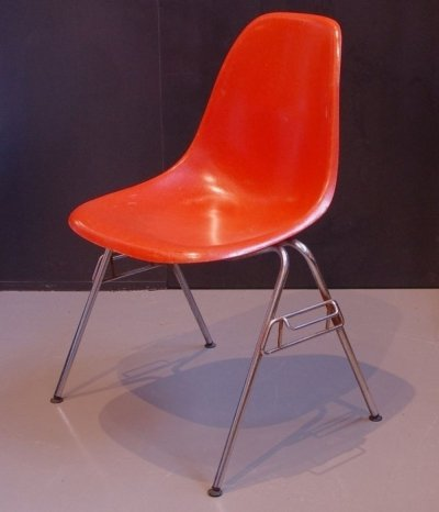 Charles & Ray Eames Orange Fiberglass chair
