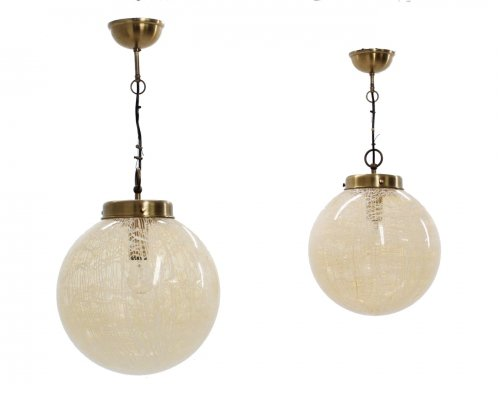 Set of 2 globe hanging lamp by La Murrina, 1970s