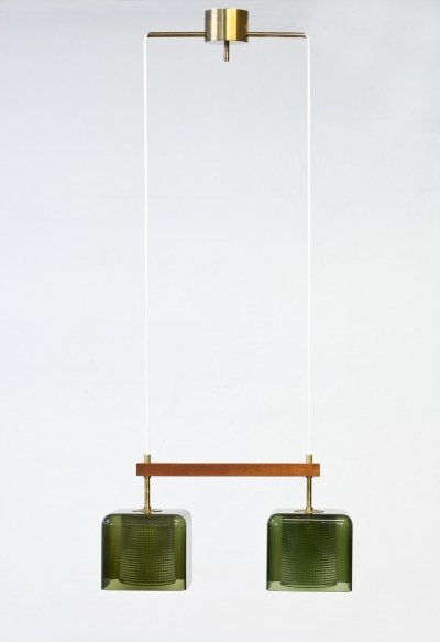 Glass & Brass Pendant Lamp by Carl Fagerlund