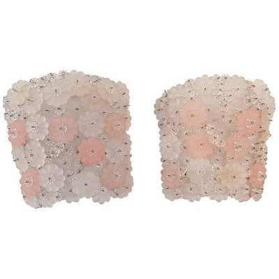 Midcentury Pair of Pink & White Murano Flower Wall Sconces, Italy