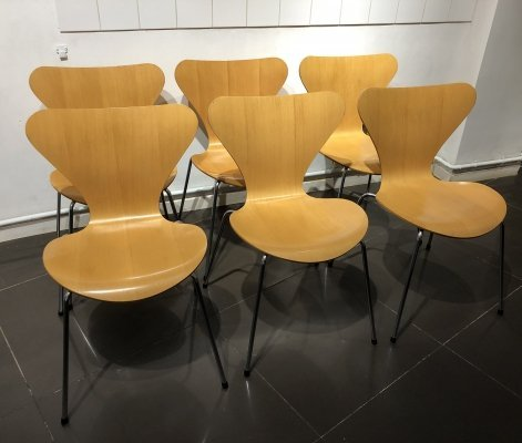 Set of 6 Beech '3107' Dining Chairs by Arne Jacobsen for Fritz Hansen, 1988
