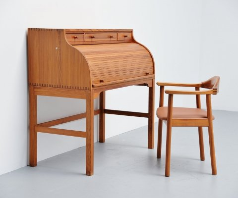 Andreas Hansen roll top desk & chair Hadsten Traeindustri, Denmark 1970