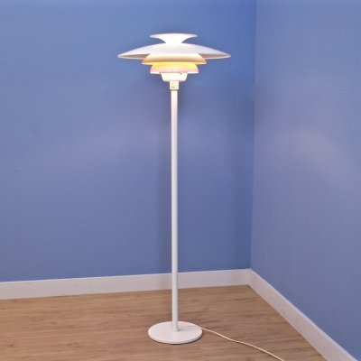 Danish floor lamp in white with orange / terra accent by Jeka Metaltryk, 1970s