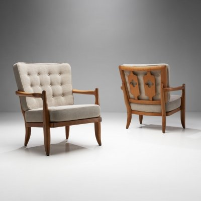 Pair of 'José' Armchairs by Guillerme et Chambron, France 1950s