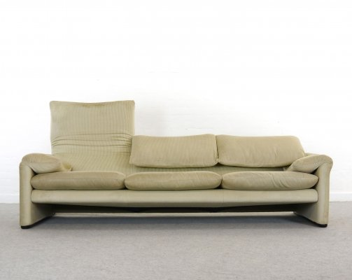 Maralunga 3-Seater Sofa by Vico Magistretti for Cassina with foldable backrests