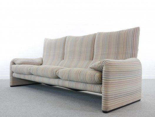 Cassina Maralunga 3-Seater Sofa by Vico Magistretti in Striped Colored Fabrics