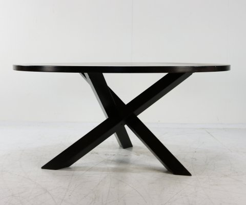 Brutalist wenge crosslegged dining table by Gerard Geytenbeek