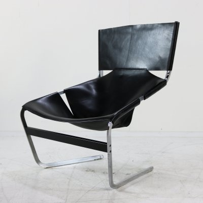 Black leather F444 lounge chair by Pierre Paulin for Artifort