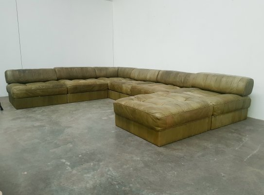 De Sede DS88 patchwork green analine leather 7 piece modular sofa, 1970s