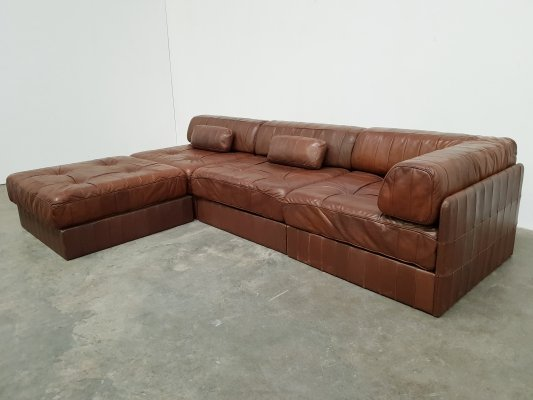 De Sede DS88 brown/cognac leather patchwork sofa, 1970s