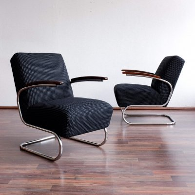 Pair of S 411 arm chairs by W. Gispen for Mücke Melder, 1930s
