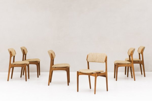 Set of 6 dining chairs 'model 49' by Erik Buch for O.D. Møbler, 1960's