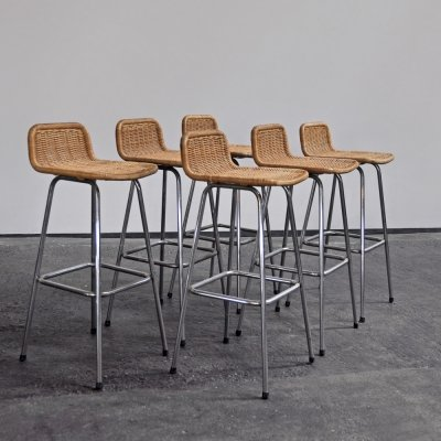 6 bar stools by Rohé Noordwolde, 1970s