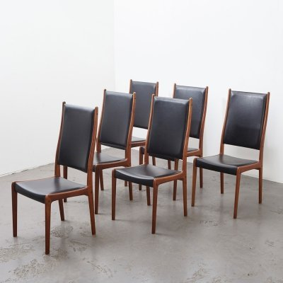 Johannes Andersen set of 6 Dining Chairs for Uldum Denmark, 1960s
