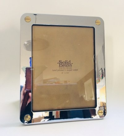 Hollywood Regency Style Solid Brass Photo Frame, 1980's