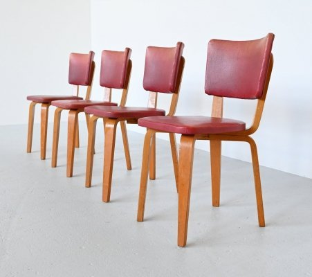 Cor Alons plywood dining chairs in red faux leather, 1949