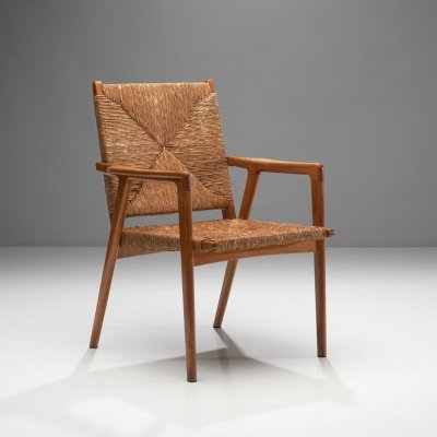 Armchair in Solid Oak & Cane, Denmark ca 1960s