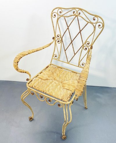 Art Nouveau Garden Chair in Iron, France 1900s