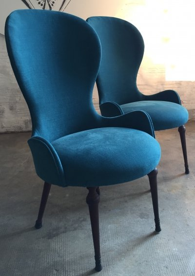 Pair of Italian Side Chairs, 1940's