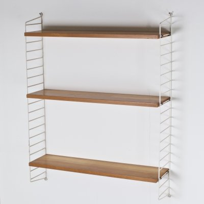 Vintage Three-tiered String Wall Shelving Unit by Nisse Strinning, Sweden 1960s