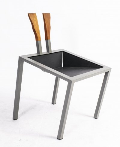 German Steel, Leather & Teak Postmodern Prototype Chair, 1980s