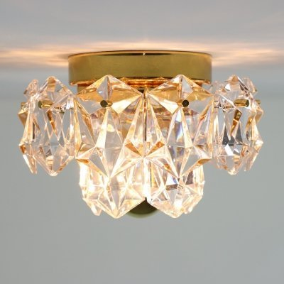 Brass & crystal glass ceiling light by Kinkeldey, 1970s