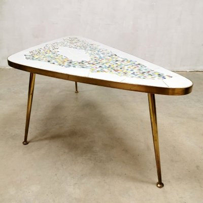 Vintage mosaic brass coffee table