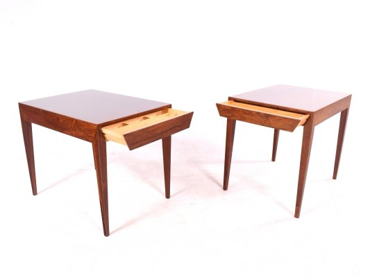 Pair of Severin Hansen Jr. 'Model 40' Rosewood Sewing Tables by Haslev Møbelsnedkeri
