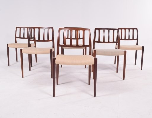 Set of Six Niels Møller 'Model 83' Rosewood Dining Chairs for J.L. Møller