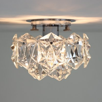 Chromed metal & crystal glass ceiling lights by Kinkeldey, 1970s