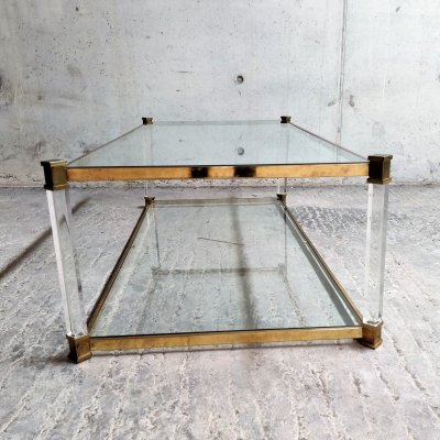 Lucite & brass two tier coffee table, 1970s