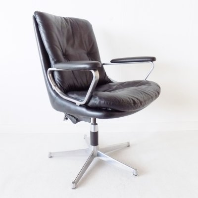Strässle Gentilina black leather lounge chair by Andre Vandenbeuck