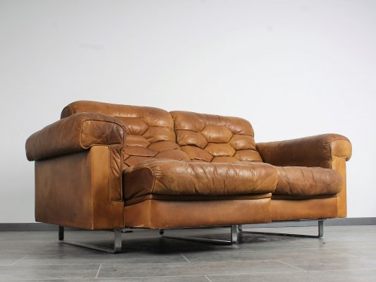 Cognac leather DS-P Sofa by Robert Haussmann for De Sede with stainless steel legs