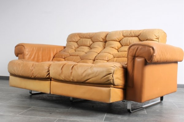 Leather DS-P sofa by Robert Haussmann for De Sede with extensible seats & stainless legs