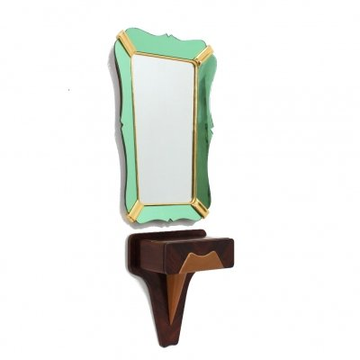 Mid century colored glass & gold leaf mirror with console by Dassi, 1950s