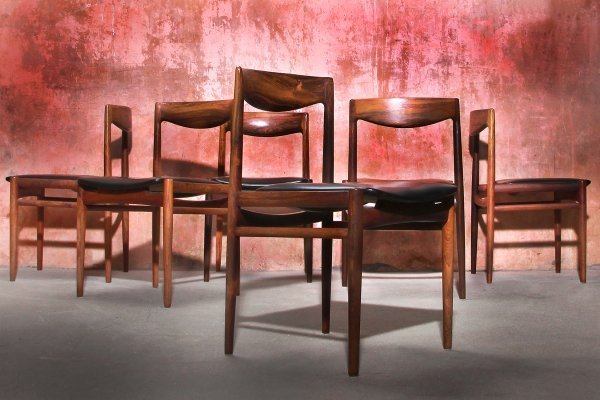 Set of 6 Lübke Rosewood Dining Chairs, 1970s