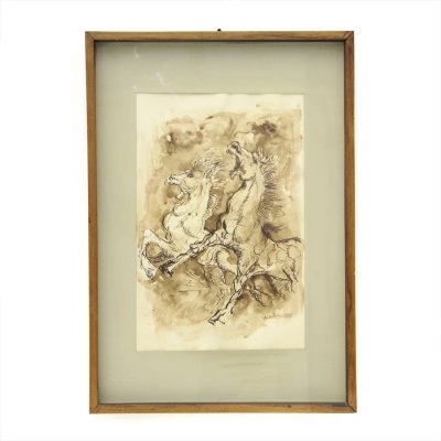 'Cavalli' Watercolor painting executed by Giorgio Mariani, 1965