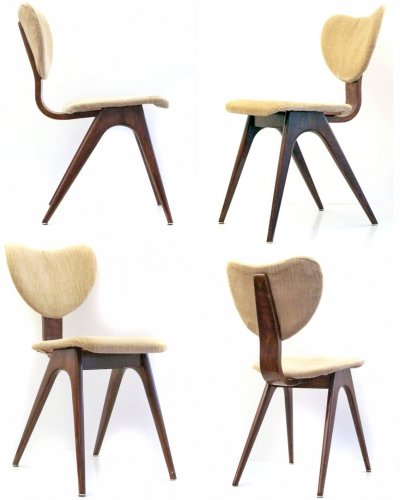 4 x vintage plywood dining chair, 1950s