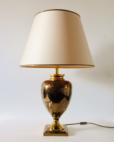 Maison Le Dauphin Large Brass patinated Amphora Table Lamp, France 1970's