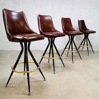 Set of 4 vintage Eclectic Casino brass barstools