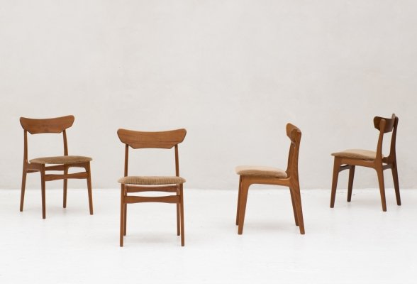 Set of 4 dining chairs by Schiønning & Elgaard, Denmark 1960's