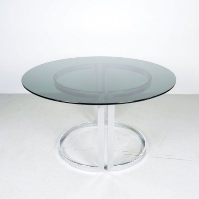 Milo Baughman chrome en smoked glass dining table, 1970's