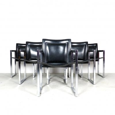 Set of 6 chrome & leather dining chairs by Arrben Italy, 1970's
