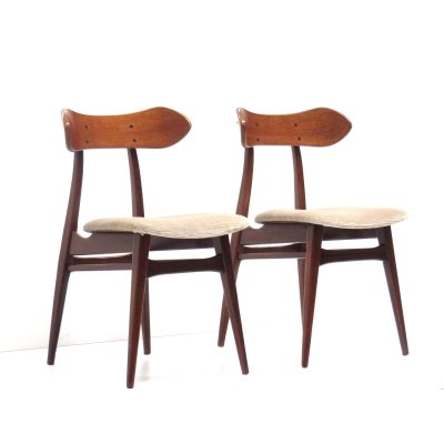 Set of 2 vintage 'Kastrup' dining room chairs by Louis van Teeffelen for Wébe