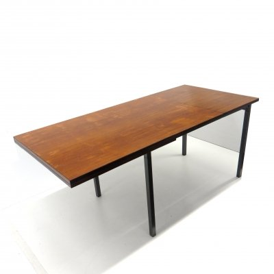 Extendable vintage dining table from Brabantia with metal frame & teak top