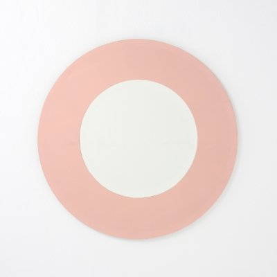 Pink Round Mirror by Cristal Art, 1970s