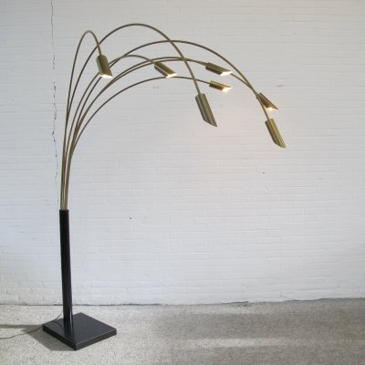 Vintage Italian 7 arms brass arc floor lamp, 1970s