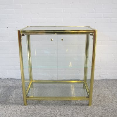 Vintage brass & glass display cabinet, 1980s