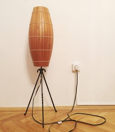 Industrial Wooden floor lamp, 1970